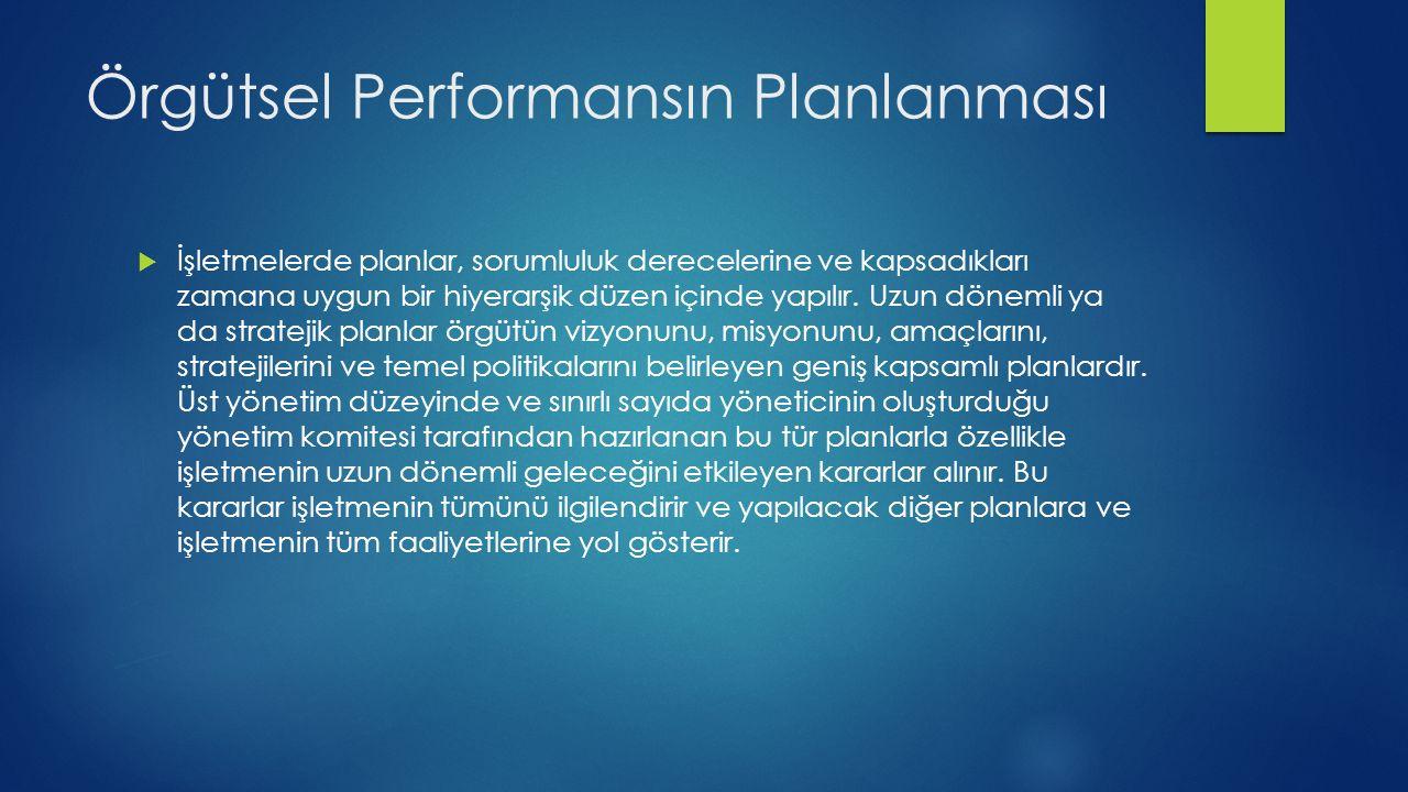 Örgütsel Performansın Planlanması  İşletmelerde planlar, sorumluluk derecelerine ve kapsadıkları zamana uygun bir hiyerarşik düzen içinde yapılır.