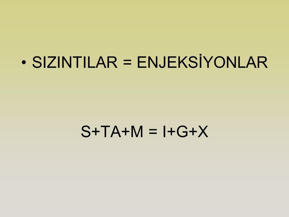 SIZINTILAR = ENJEKSİYONLAR S+TA+M = I+G+X
