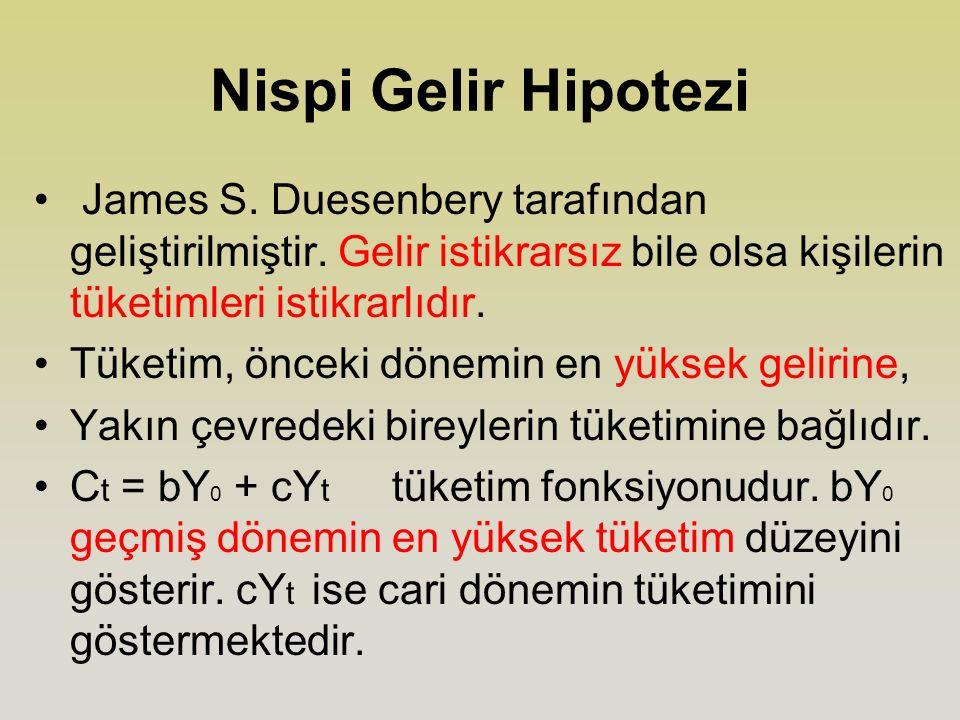 Nispi Gelir Hipotezi James S.Duesenbery tarafından geliştirilmiştir.