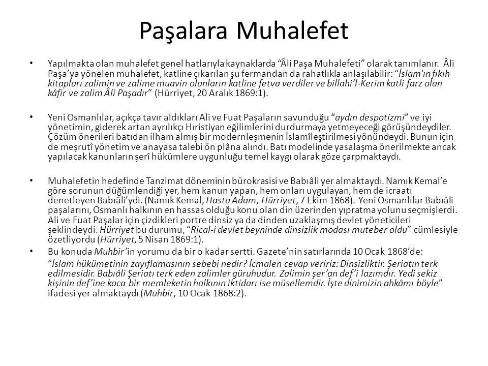 Paşalara Muhalefet Yapılmakta olan muhalefet genel hatlarıyla kaynaklarda Âli Paşa Muhalefeti olarak tanımlanır.