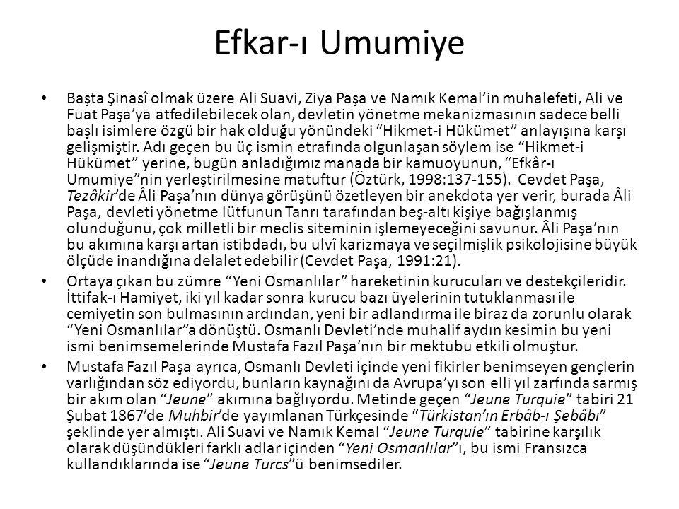 Efkar-ı Umumiye Başta Şinasî olmak üzere Ali Suavi, Ziya Paşa ve Namık Kemal'in muhalefeti, Ali ve Fuat Paşa'ya atfedilebilecek olan, devletin yönetme mekanizmasının sadece belli başlı isimlere özgü bir hak olduğu yönündeki Hikmet-i Hükümet anlayışına karşı gelişmiştir.