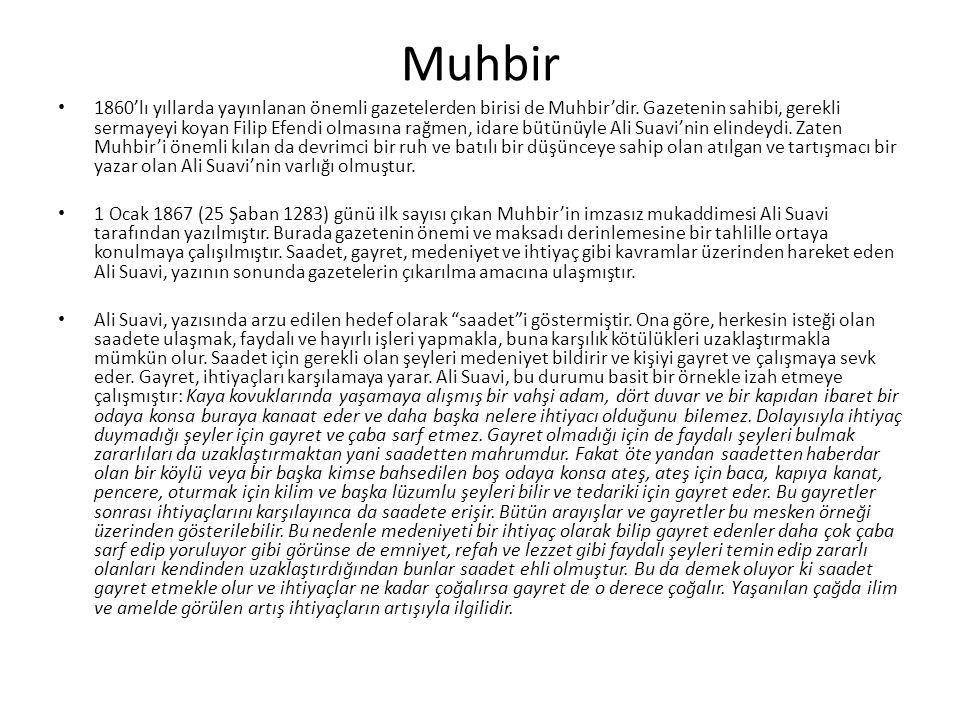 Muhbir 1860'lı yıllarda yayınlanan önemli gazetelerden birisi de Muhbir'dir.