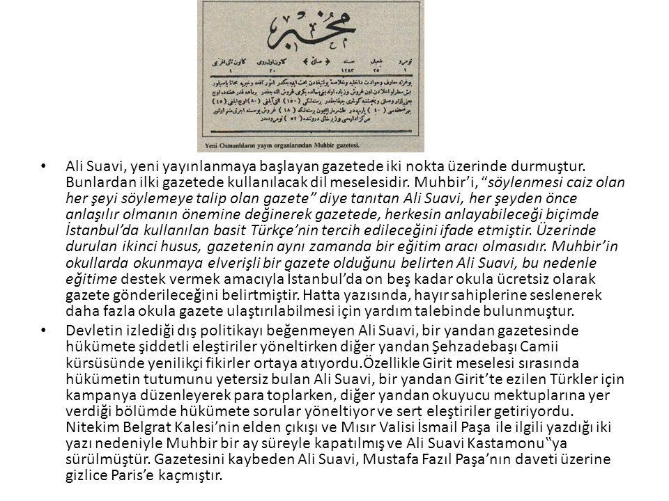 Ali Suavi, yeni yayınlanmaya başlayan gazetede iki nokta üzerinde durmuştur.