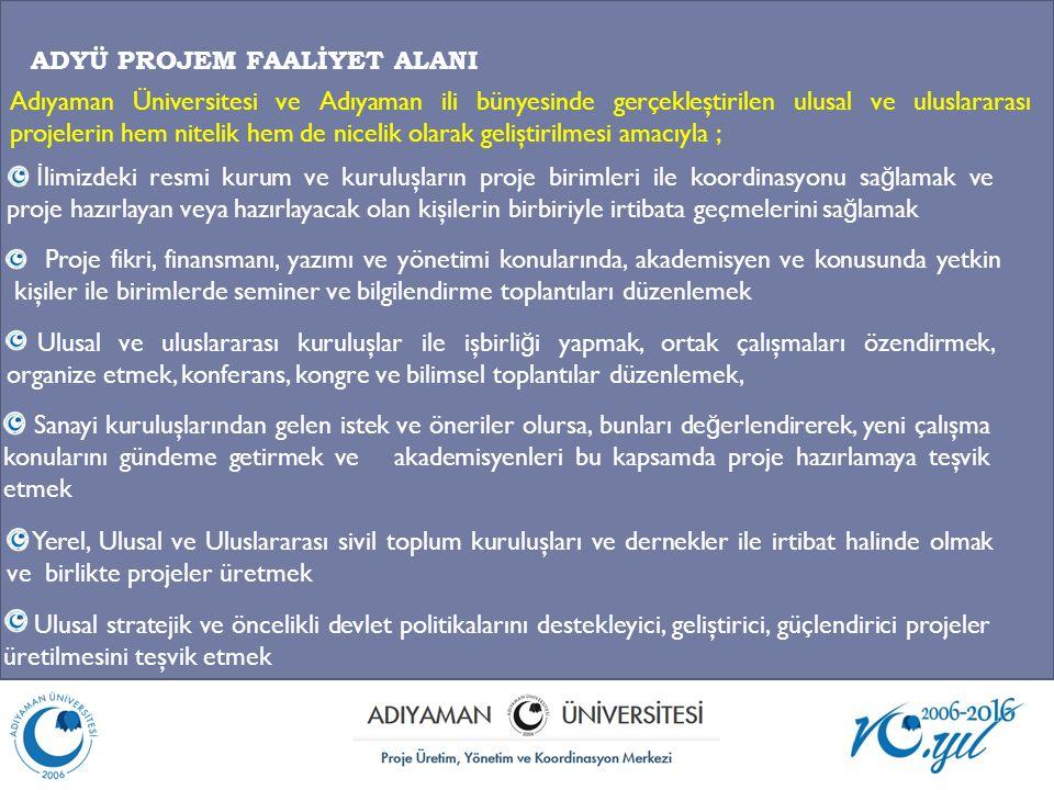 ADYÜ PROJEM FAALİYET ALANI Adıyaman Üniversitesi ve Adıyaman ili bünyesinde gerçekleştirilen ulusal ve uluslararası projelerin hem nitelik hem de nice