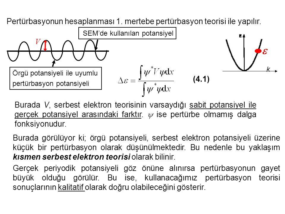 Pertürbasyonun hesaplanması 1. mertebe pertürbasyon teorisi ile yapılır. (4.1) Burada V, serbest elektron teorisinin varsaydığı sabit potansiyel ile g