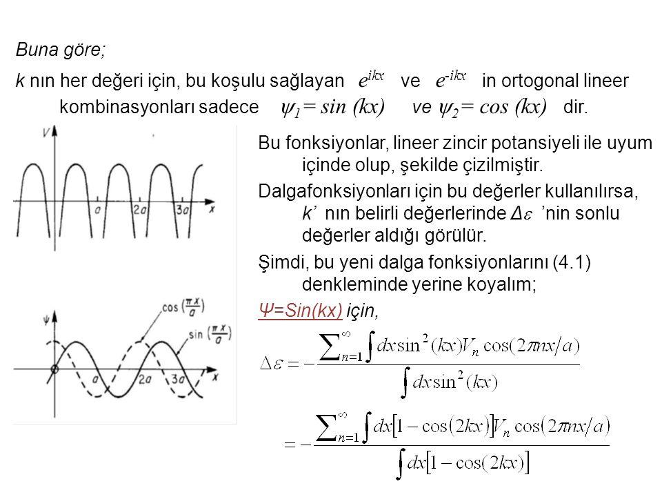 Buna göre; k nın her değeri için, bu koşulu sağlayan e ikx ve e -ikx in ortogonal lineer kombinasyonları sadece  1 = sin (kx) ve  2 = cos (kx) dir.