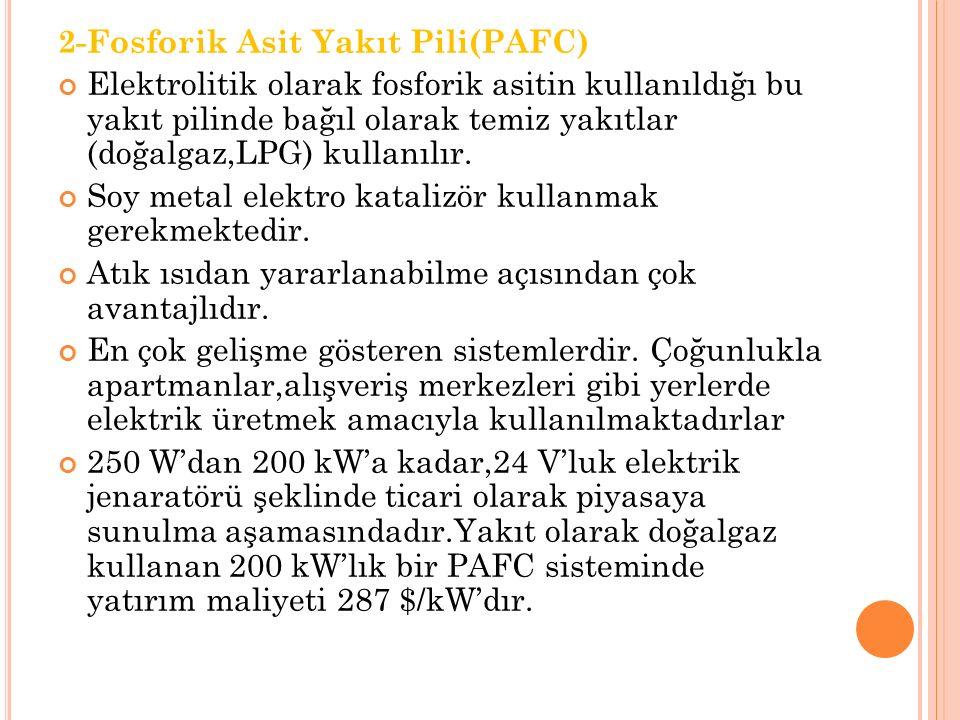 2-Fosforik Asit Yakıt Pili(PAFC) Elektrolitik olarak fosforik asitin kullanıldığı bu yakıt pilinde bağıl olarak temiz yakıtlar (doğalgaz,LPG) kullanılır.