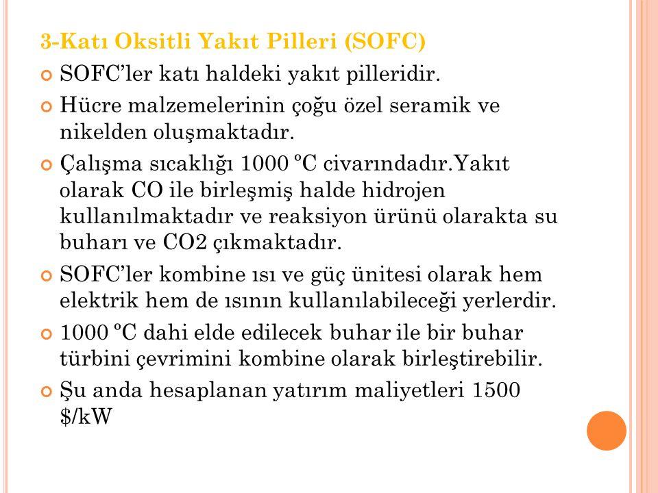 3-Katı Oksitli Yakıt Pilleri (SOFC) SOFC'ler katı haldeki yakıt pilleridir.