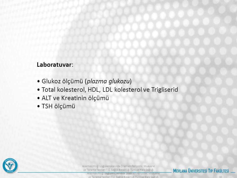 Aile Hekimliği Uygulamalarında Önerilen Periyodik Muayene ve Tarama Testleri T.C. Sağlık Bakanlığı Türkiye Halk Sağlığı Kurumu, Ankara 2015 30 Laborat