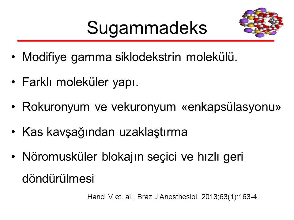 Sugammadeks Modifiye gamma siklodekstrin molekülü. Farklı moleküler yapı. Rokuronyum ve vekuronyum «enkapsülasyonu» Kas kavşağından uzaklaştırma Nörom