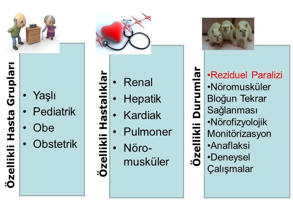Yaşlı Pediatrik Obe Obstetrik Renal Hepatik Kardiak Pulmoner Nöro- musküler Reziduel Paralizi Nöromusküler Bloğun Tekrar Sağlanması Nörofizyolojik Mon