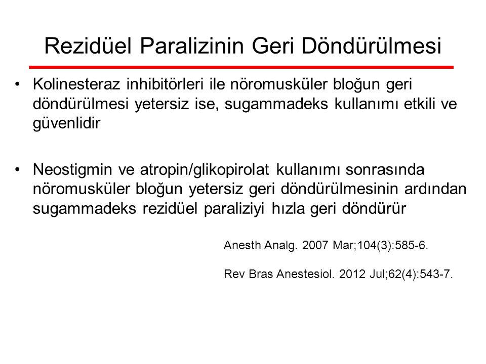 Rezidüel Paralizinin Geri Döndürülmesi Kolinesteraz inhibitörleri ile nöromusküler bloğun geri döndürülmesi yetersiz ise, sugammadeks kullanımı etkili