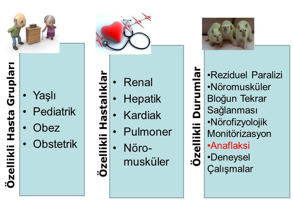 Yaşlı Pediatrik Obez Obstetrik Renal Hepatik Kardiak Pulmoner Nöro- musküler Reziduel Paralizi Nöromusküler Bloğun Tekrar Sağlanması Nörofizyolojik Mo