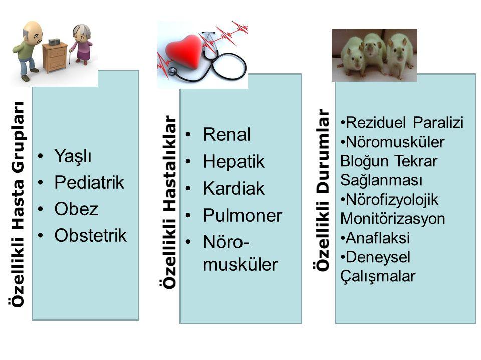 Yaşlı Pediatrik Obe Obstetrik Renal Hepatik Kardiak Pulmoner Nöro- musküler Reziduel Paralizi Nöromusküler Bloğun Tekrar Sağlanması Nörofizyolojik Monitörizasyon Anaflaksi Deneysel Çalışmalar Özellikli Hasta Grupları