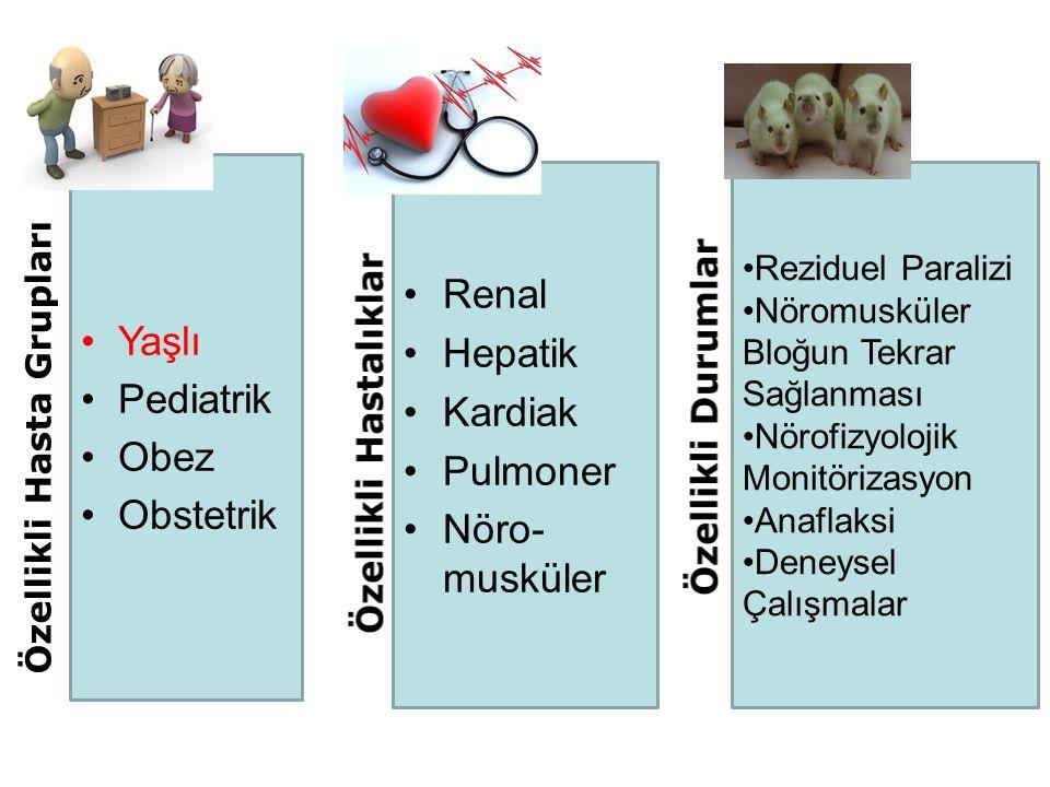 Yaşlı Pediatrik Obez Obstetrik Renal Hepatik Kardiak Pulmoner Nöro- musküler Reziduel Paralizi Nöromusküler Bloğun Tekrar Sağlanması Nörofizyolojik Monitörizasyon Anaflaksi Deneysel Çalışmalar Diğer Klinik Çalışmalar Özellikli Hasta Grupları