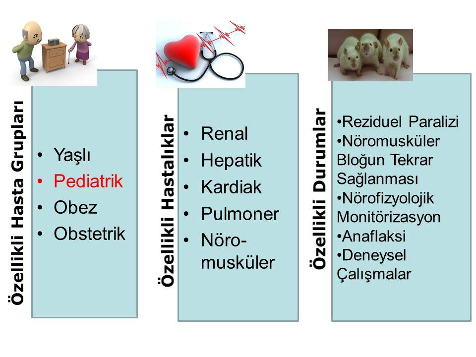 Pediatrik Olgular Sugammadeks pediatrik olgularda; –Rokuronyumun indüklediği nöromusküler bloğu hızlı ve etkili olarak geri döndürür –Neostigmin ile karşılaştırıldığında, rokuronyumun indüklediği nöromusküler bloktan kısa süreli derlenme ve güvenli ekstübasyon sağlar –Nöromusküler bloğun geri döndürülmesinde güvenli bir ajan olarak değerlendirilmektedir Saudi J Anaesth.