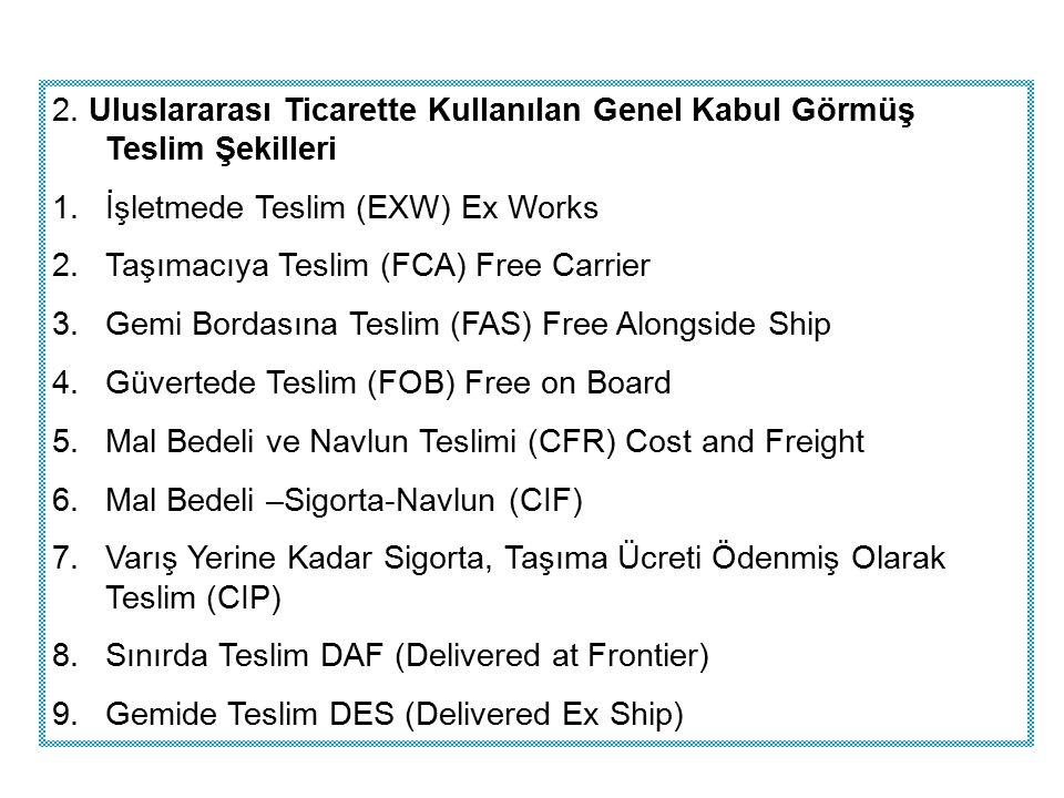 2. Uluslararası Ticarette Kullanılan Genel Kabul Görmüş Teslim Şekilleri 1.İşletmede Teslim (EXW) Ex Works 2.Taşımacıya Teslim (FCA) Free Carrier 3.Ge