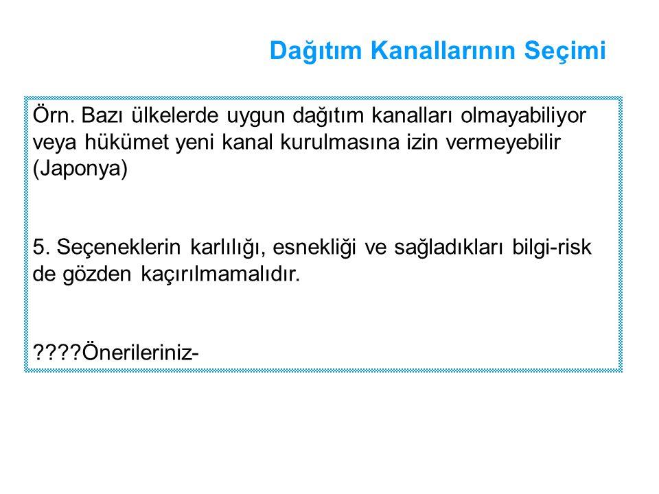 Dağıtım Kanallarının Seçimi Örn.
