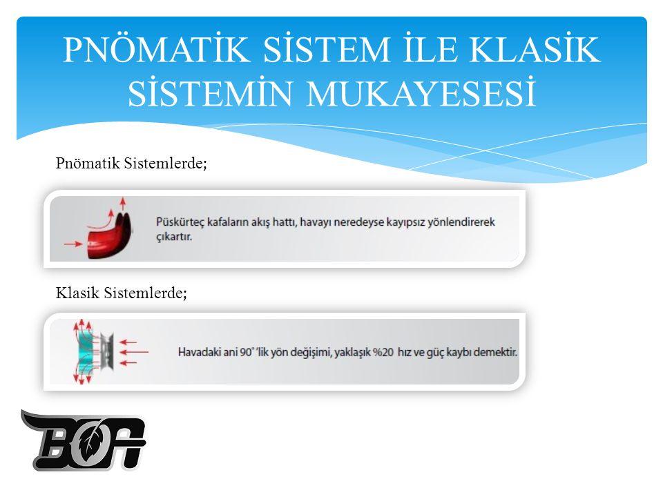 PNÖMATİK SİSTEM İLE KLASİK SİSTEMİN MUKAYESESİ Pnömatik Sistemlerde ; Klasik Sistemlerde ;