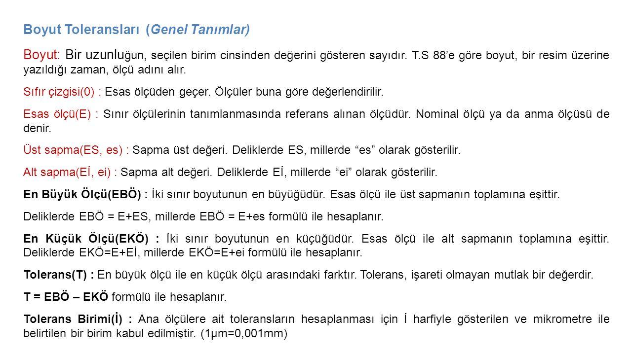 Boyut Toleransları (Genel Tanımlar) Boyut: Bir uzunlu ğun, seçilen birim cinsinden değerini gösteren sayıdır. T.S 88'e göre boyut, bir resim üzerine y