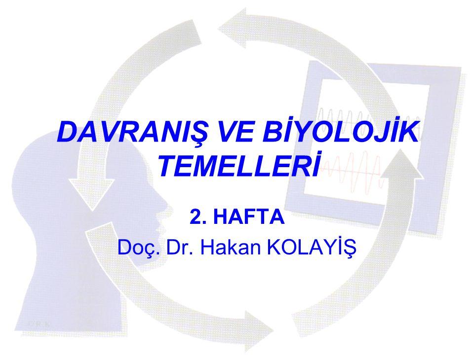 DAVRANIŞ VE BİYOLOJİK TEMELLERİ 2. HAFTA Doç. Dr. Hakan KOLAYİŞ