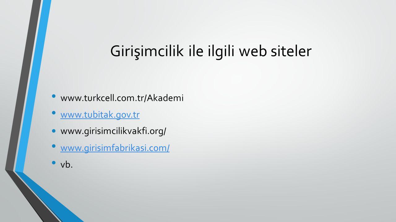 Girişimcilik ile ilgili web siteler www.turkcell.com.tr/Akademi  www.tubitak.gov.tr www.girisimcilikvakfi.org/ www.girisimfabrikasi.com/ vb.