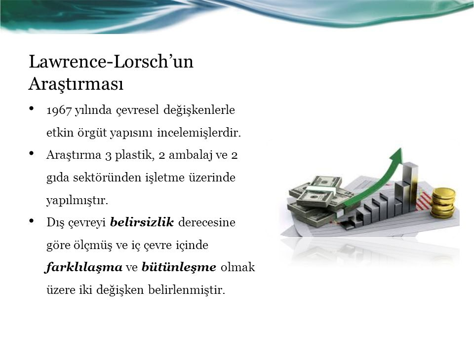 Lawrence-Lorsch'un Araştırması 1967 yılında çevresel değişkenlerle etkin örgüt yapısını incelemişlerdir.