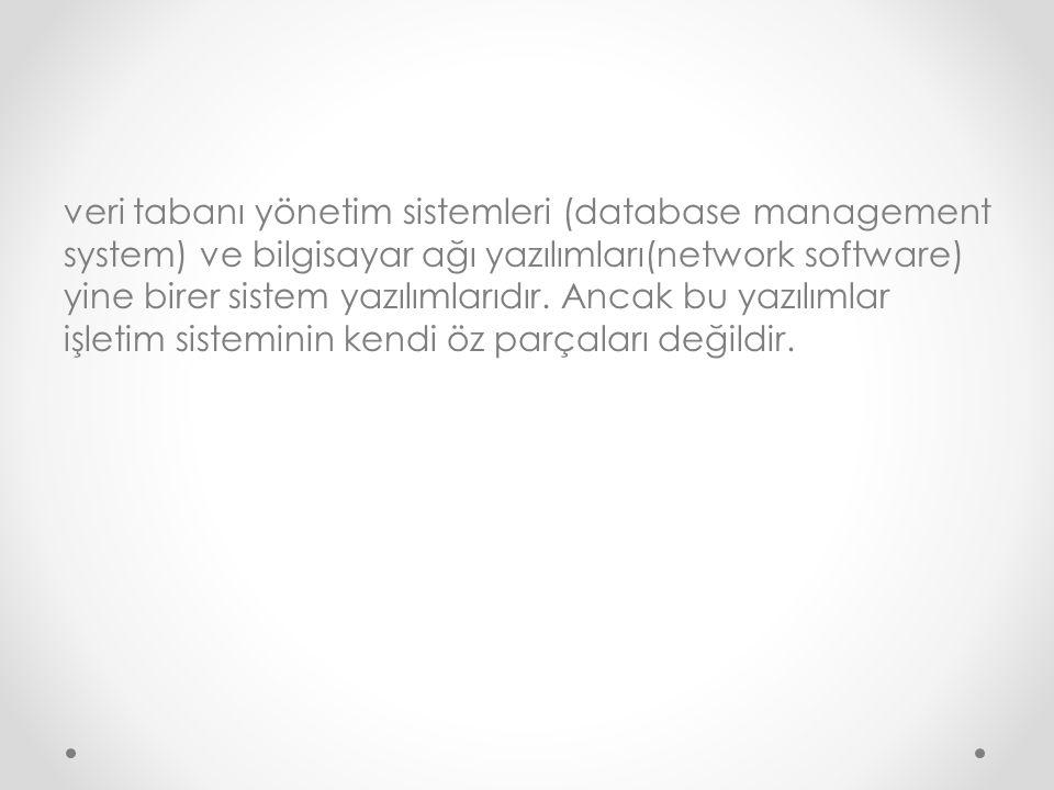 veri tabanı yönetim sistemleri (database management system) ve bilgisayar ağı yazılımları(network software) yine birer sistem yazılımlarıdır. Ancak bu
