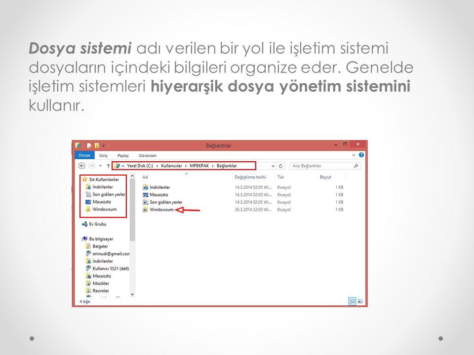 Dosya sistemi adı verilen bir yol ile işletim sistemi dosyaların içindeki bilgileri organize eder. Genelde işletim sistemleri hiyerarşik dosya yönetim