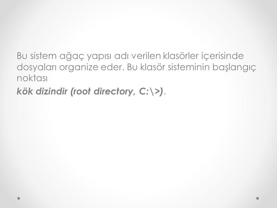 Bu sistem ağaç yapısı adı verilen klasörler içerisinde dosyaları organize eder. Bu klasör sisteminin başlangıç noktası kök dizindir (root directory, C