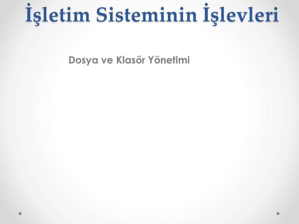 İşletim Sisteminin İşlevleri İşletim Sisteminin İşlevleri Dosya ve Klasör Yönetimi