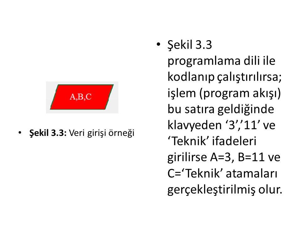 Şekil 3.3 programlama dili ile kodlanıp çalıştırılırsa; işlem (program akışı) bu satıra geldiğinde klavyeden '3','11' ve 'Teknik' ifadeleri girilirse