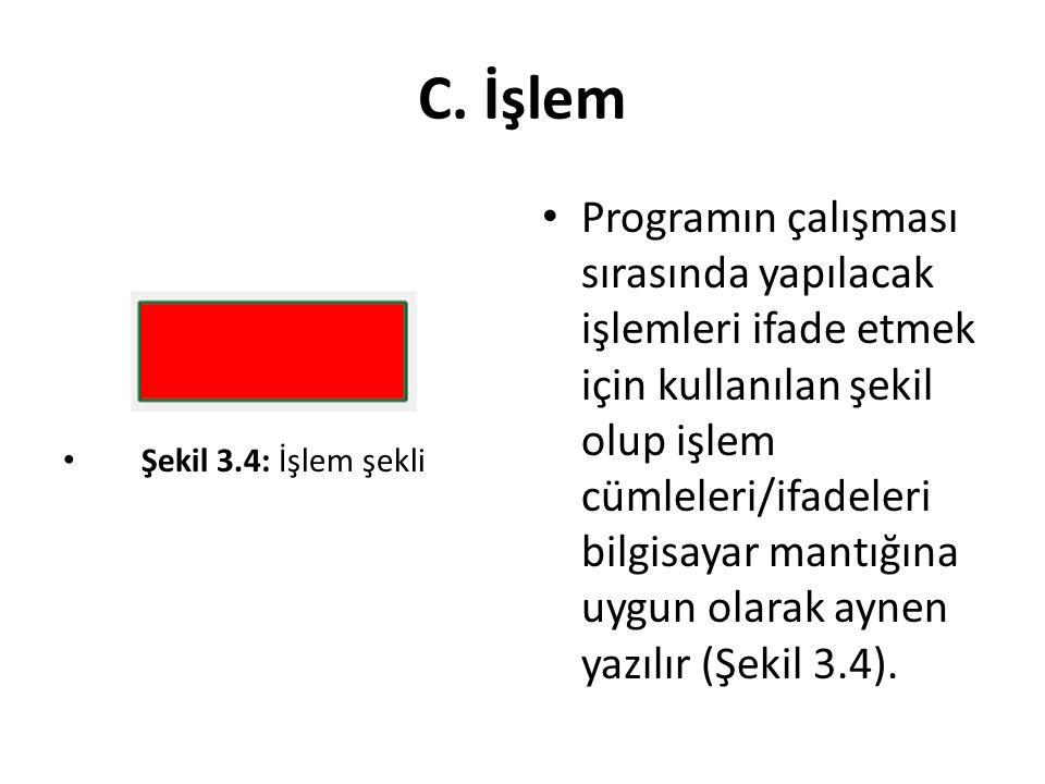 C. İşlem Programın çalışması sırasında yapılacak işlemleri ifade etmek için kullanılan şekil olup işlem cümleleri/ifadeleri bilgisayar mantığına uygun