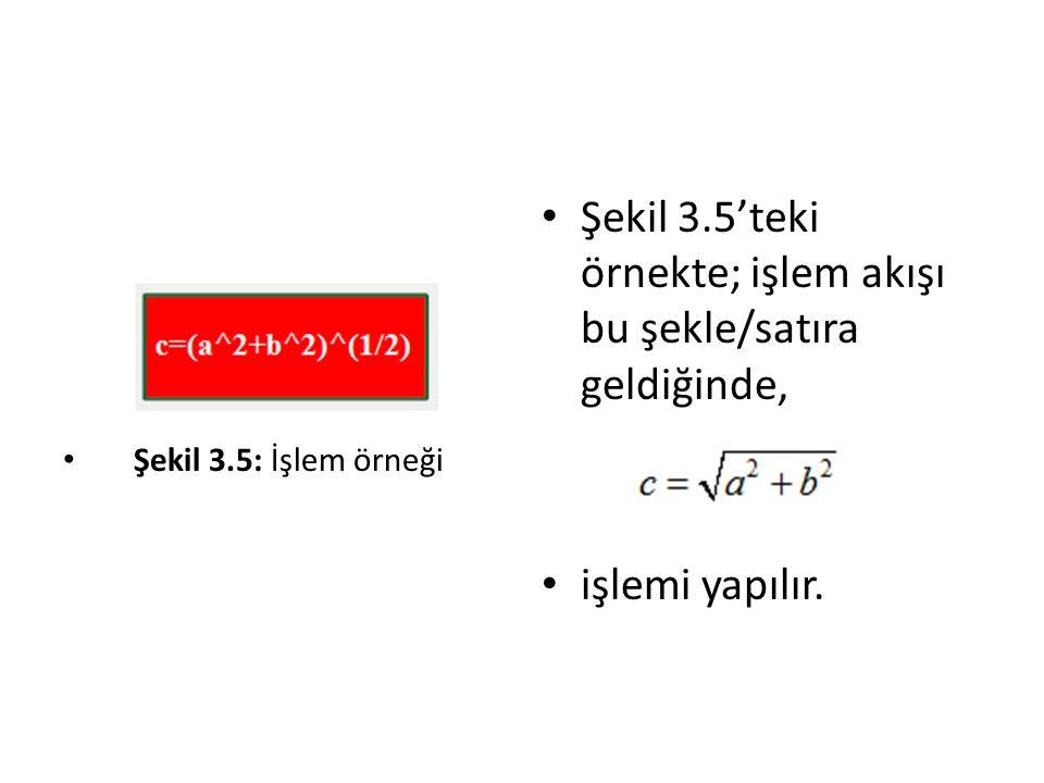 Şekil 3.5: İşlem örneği Şekil 3.5'teki örnekte; işlem akışı bu şekle/satıra geldiğinde, işlemi yapılır.