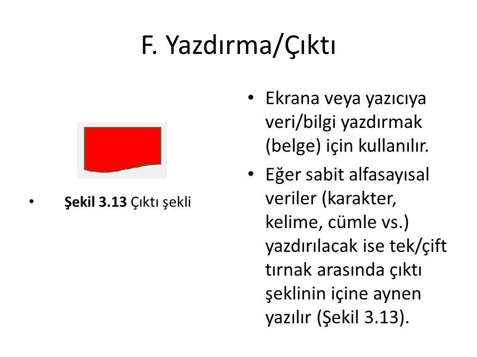 F. Yazdırma/Çıktı Şekil 3.13 Çıktı şekli Ekrana veya yazıcıya veri/bilgi yazdırmak (belge) için kullanılır. Eğer sabit alfasayısal veriler (karakter,
