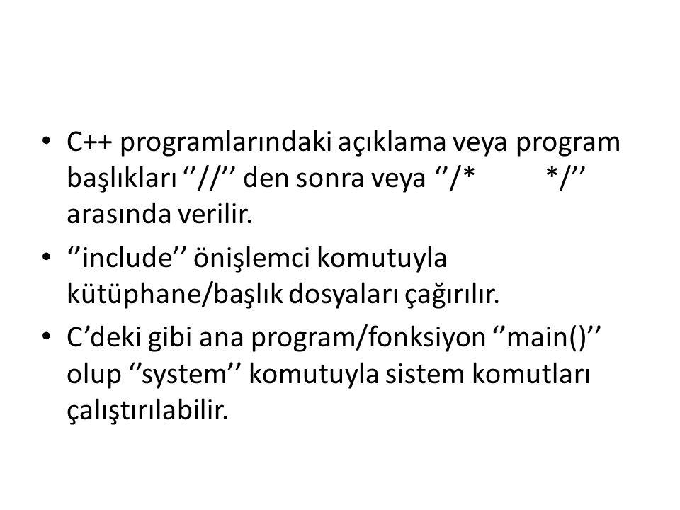 C++ programlarındaki açıklama veya program başlıkları ''//'' den sonra veya ''/* */'' arasında verilir.