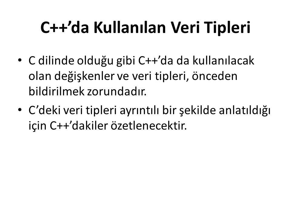 C++'da Kullanılan Veri Tipleri C dilinde olduğu gibi C++'da da kullanılacak olan değişkenler ve veri tipleri, önceden bildirilmek zorundadır.