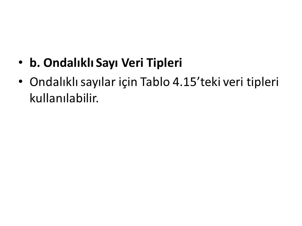 b. Ondalıklı Sayı Veri Tipleri Ondalıklı sayılar için Tablo 4.15'teki veri tipleri kullanılabilir.