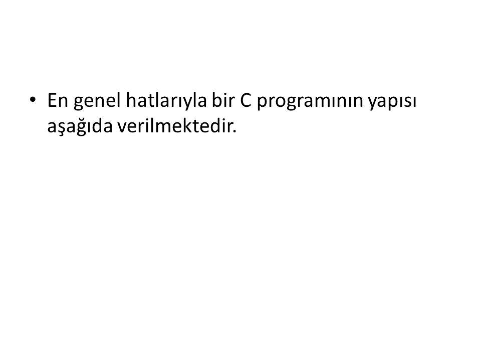 En genel hatlarıyla bir C programının yapısı aşağıda verilmektedir.