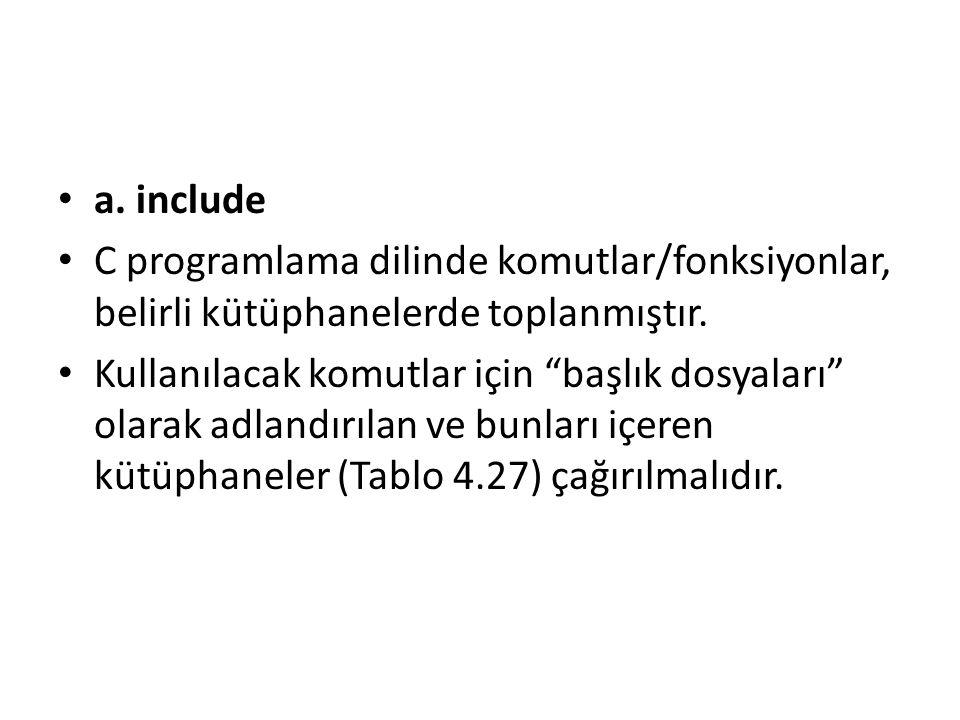 a. include C programlama dilinde komutlar/fonksiyonlar, belirli kütüphanelerde toplanmıştır.