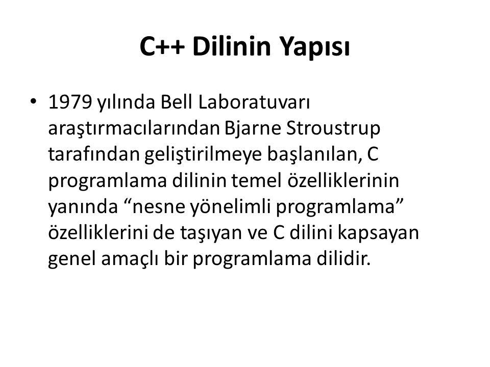 C++ Dilinin Yapısı 1979 yılında Bell Laboratuvarı araştırmacılarından Bjarne Stroustrup tarafından geliştirilmeye başlanılan, C programlama dilinin temel özelliklerinin yanında nesne yönelimli programlama özelliklerini de taşıyan ve C dilini kapsayan genel amaçlı bir programlama dilidir.