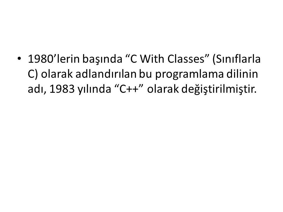 1980'lerin başında C With Classes (Sınıflarla C) olarak adlandırılan bu programlama dilinin adı, 1983 yılında C++ olarak değiştirilmiştir.