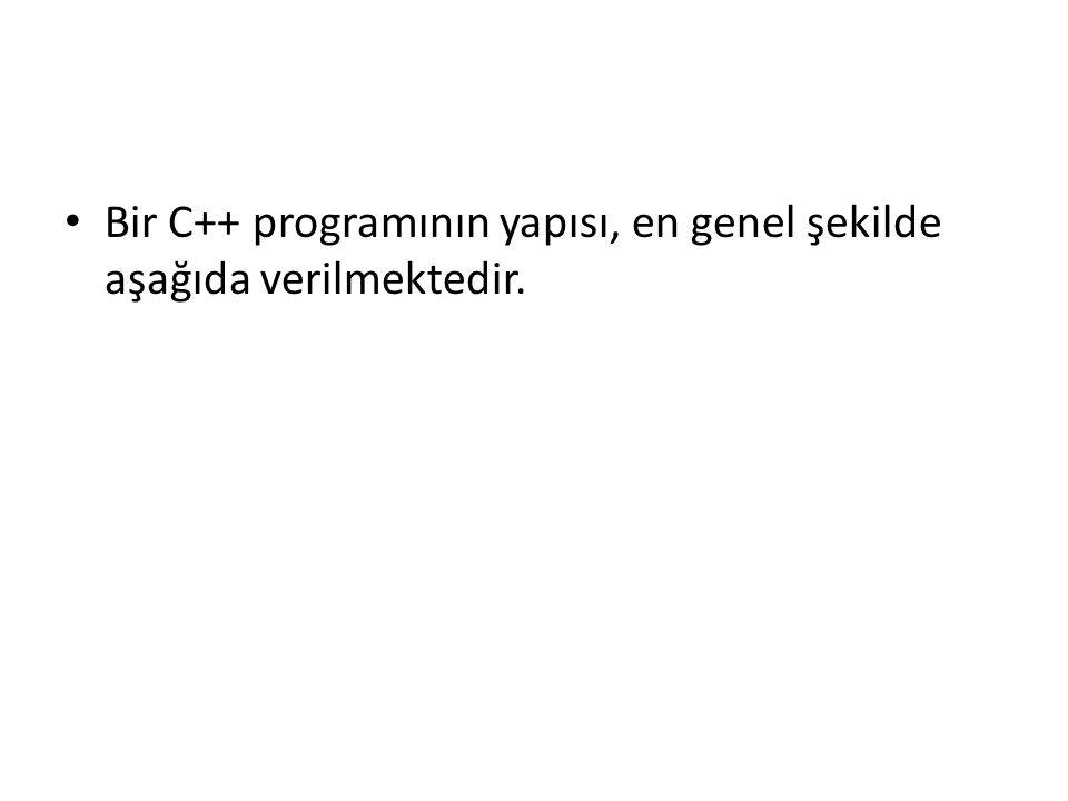 Bir C++ programının yapısı, en genel şekilde aşağıda verilmektedir.