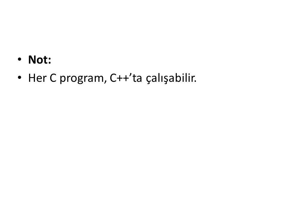 Not: Her C program, C++'ta çalışabilir.