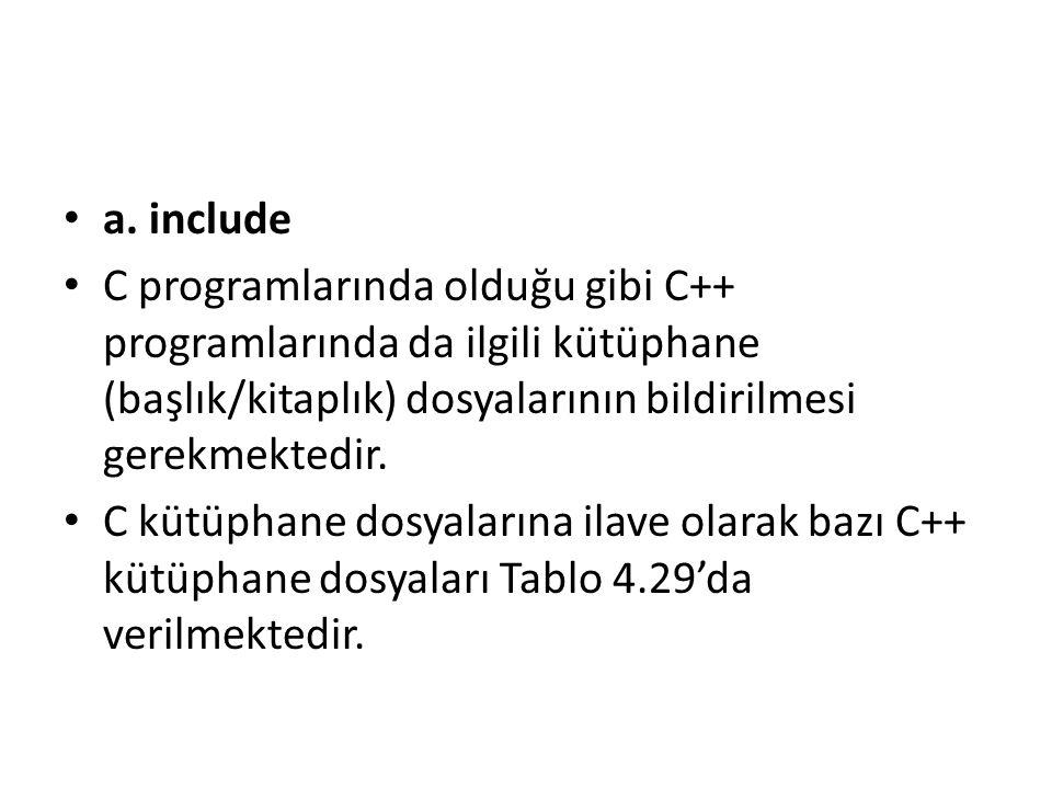 a. include C programlarında olduğu gibi C++ programlarında da ilgili kütüphane (başlık/kitaplık) dosyalarının bildirilmesi gerekmektedir. C kütüphane