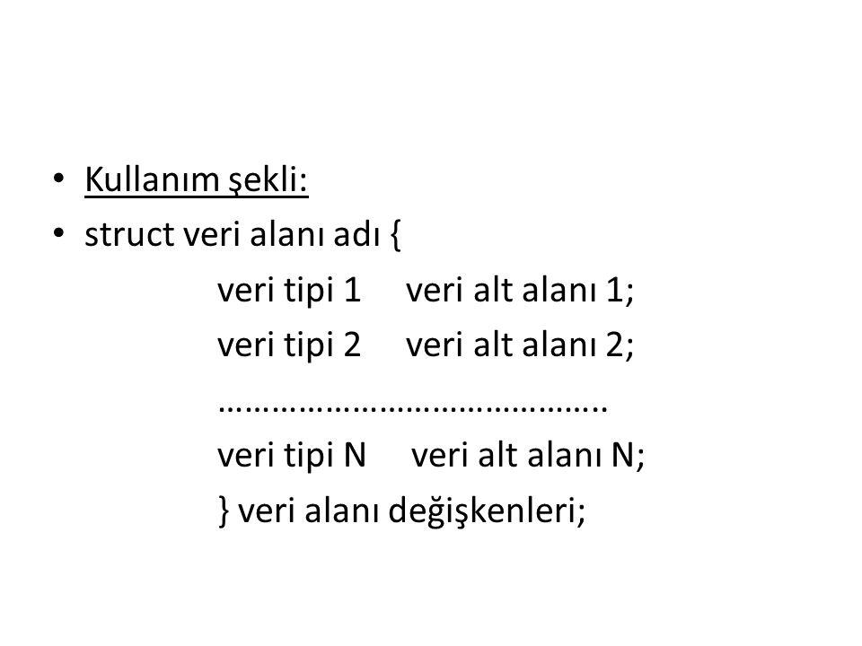 Kullanım şekli: struct veri alanı adı { veri tipi 1 veri alt alanı 1; veri tipi 2 veri alt alanı 2; ……………………………………..