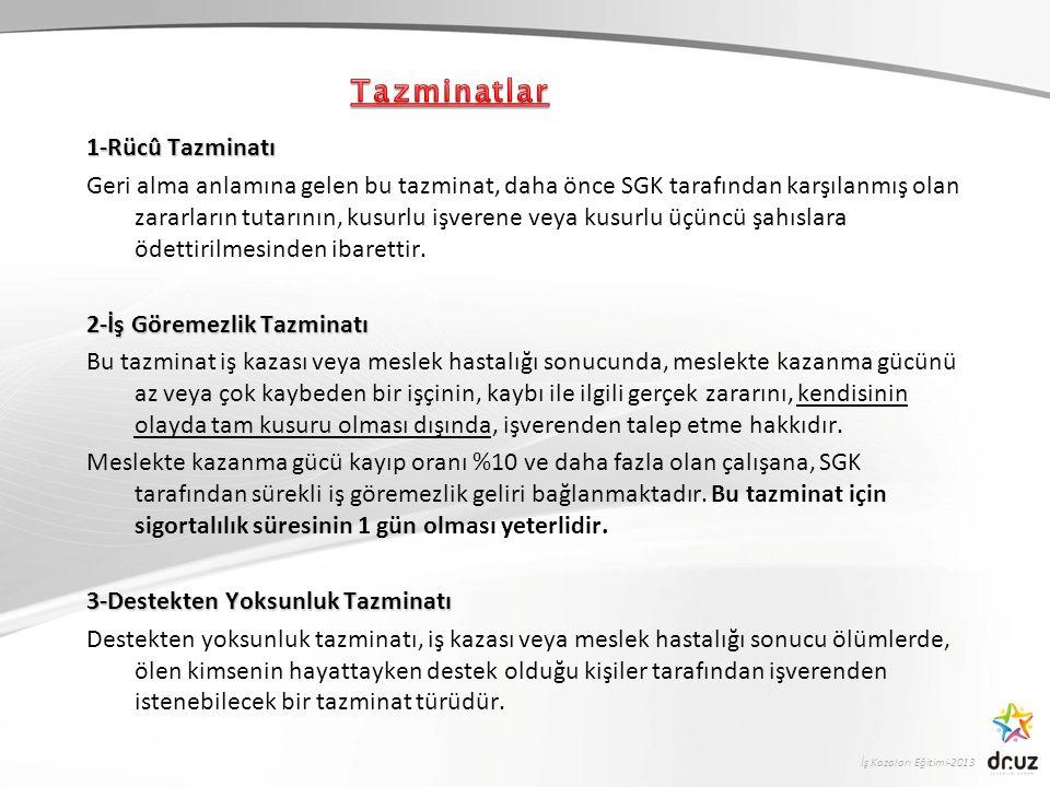 İş Kazaları Eğitimi-2013 1-Rücû Tazminatı Geri alma anlamına gelen bu tazminat, daha önce SGK tarafından karşılanmış olan zararların tutarının, kusurl