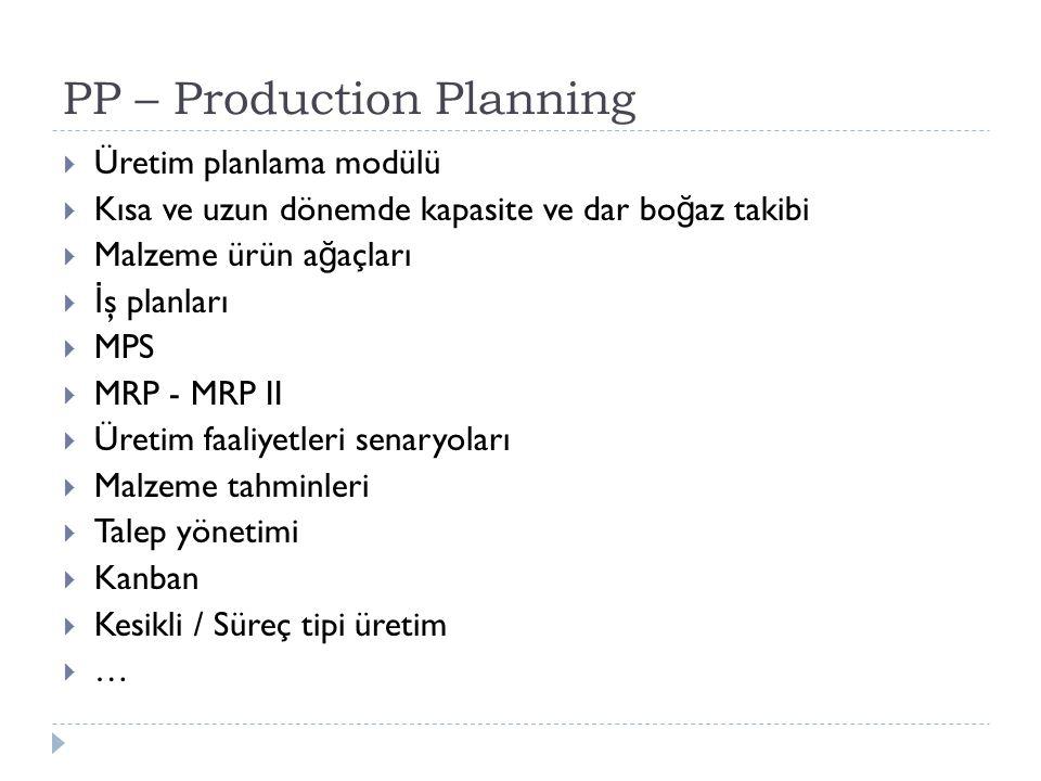 PP – Production Planning  Üretim planlama modülü  Kısa ve uzun dönemde kapasite ve dar bo ğ az takibi  Malzeme ürün a ğ açları  İ ş planları  MPS  MRP - MRP II  Üretim faaliyetleri senaryoları  Malzeme tahminleri  Talep yönetimi  Kanban  Kesikli / Süreç tipi üretim  …