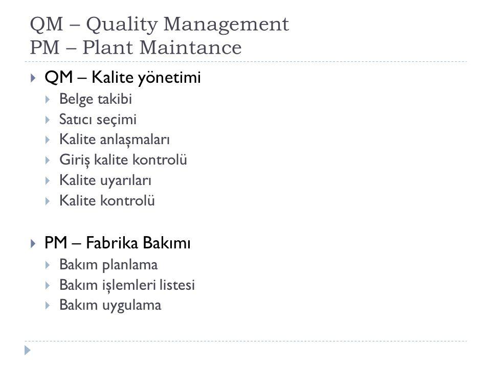 QM – Quality Management PM – Plant Maintance  QM – Kalite yönetimi  Belge takibi  Satıcı seçimi  Kalite anlaşmaları  Giriş kalite kontrolü  Kalite uyarıları  Kalite kontrolü  PM – Fabrika Bakımı  Bakım planlama  Bakım işlemleri listesi  Bakım uygulama