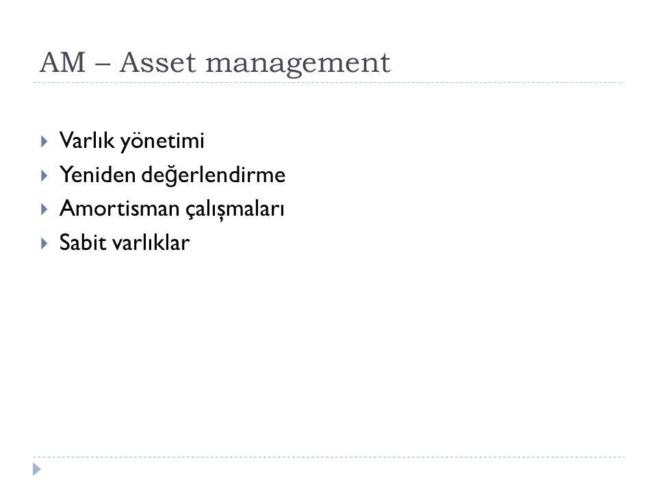 AM – Asset management  Varlık yönetimi  Yeniden de ğ erlendirme  Amortisman çalışmaları  Sabit varlıklar